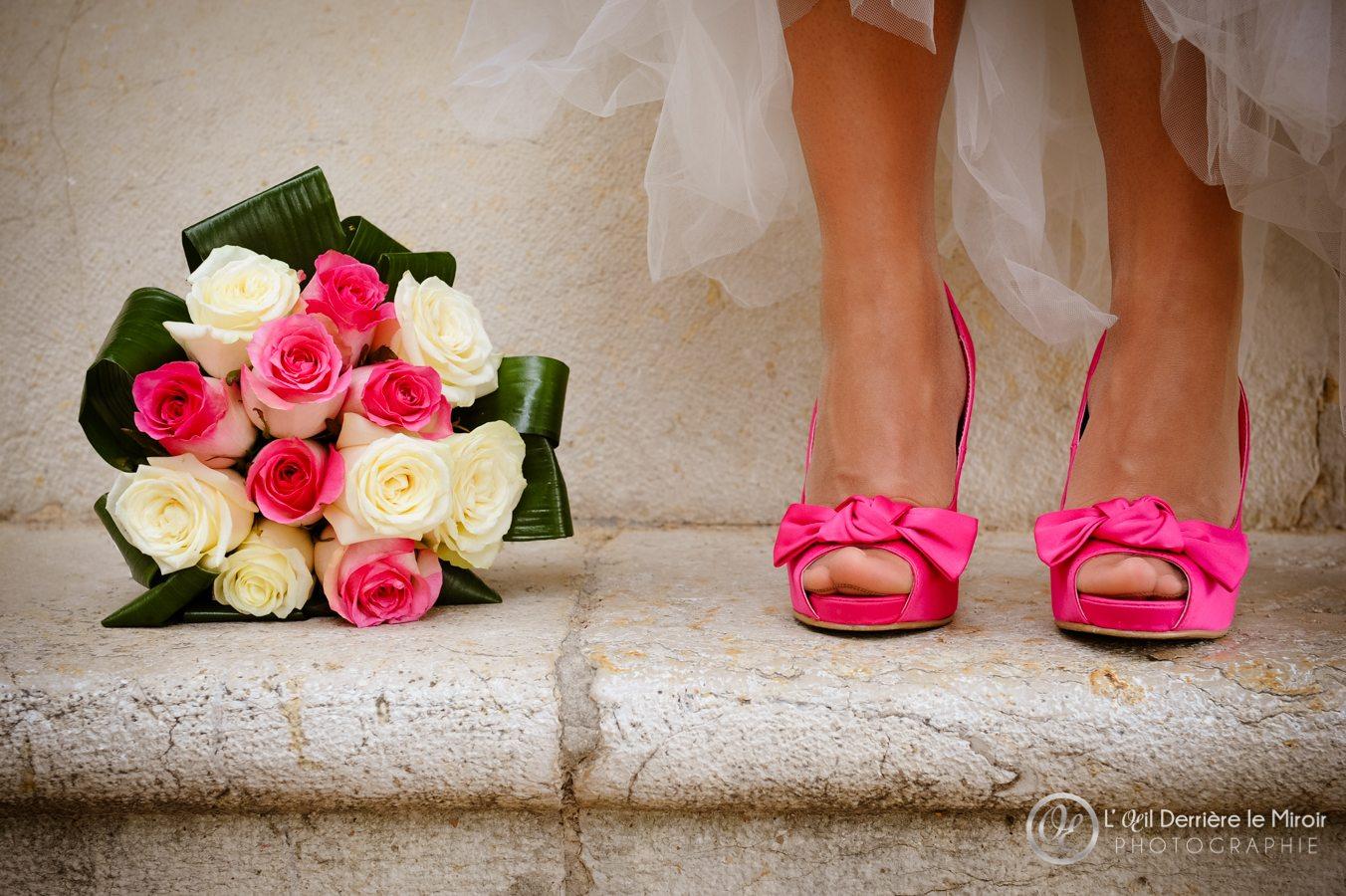 chaussures de mariée fuchia