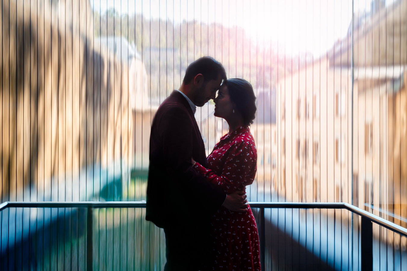 Engagement Photoshoot in Luxembourg at the Pfaffenthal elevator - L'Œil Derrière le Miroir Photographie